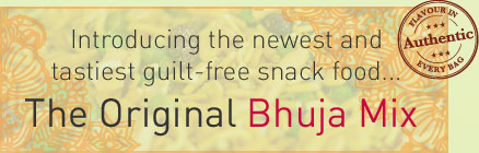 Text: Introducing the newest and tastiest guilt-free snack food... The Original Bhuja Mix